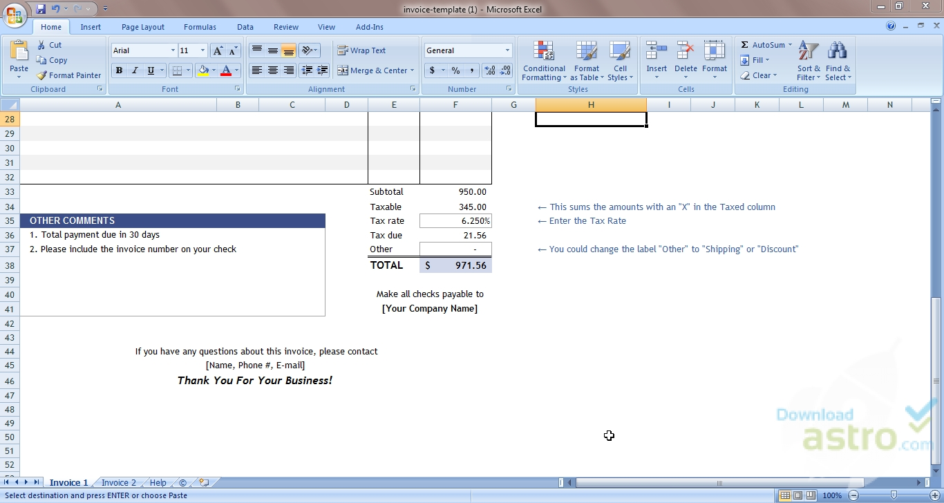 Excel Invoice Template - latest version 2019 free download
