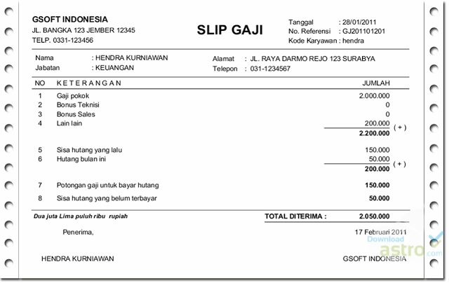 Slip Gaji Latest Version 2019 Free Download